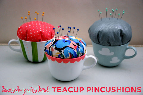 A cute substitute for the traditional pincushion .  Free tutorial with pictures on how to make a tea cup pin cushion in under 60 minutes by sewing with fabric, stuffing, and cups. How To posted by Jesse M. Difficulty: Simple. Cost: 3/5. Steps: 7
