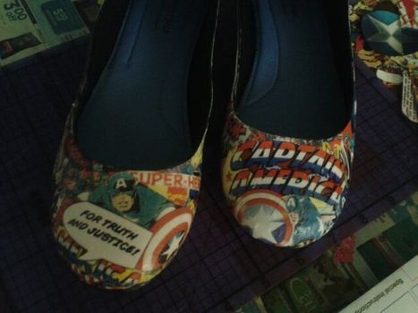 .  Make a pair of decoupage shoes in under 120 minutes by decorating, collage, and decoupaging Inspired by batman, comic books, and clothes & accessories. Version posted by Karen B. Difficulty: Simple. Cost: Cheap.