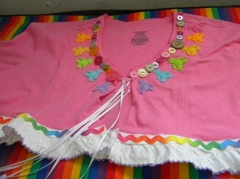 I reconstructed an XL pink t-shirt into this beary adorable rainbow shrug! .  Recycle a t-shirt into a shrug in under 120 minutes by decorating, embellishing, and sewing with beads, ribbon, and buttons. Inspired by kawaii, clothes & accessories, and rainbow. Creation posted by Boo_its_Brittany. Difficulty: Simple. Cost: Cheap.