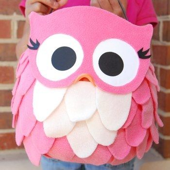 Make a coordinating treat pail to go with your owl costume. .  Free tutorial with pictures on how to make a bag in under 40 minutes by sewing with fleece and bucket. Inspired by halloween and owls. How To posted by purejoyevents. Difficulty: 3/5. Cost: 3/5. Steps: 7