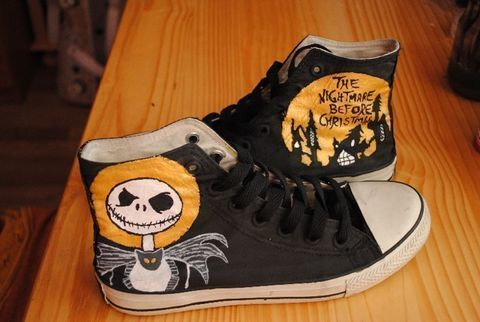 Turn an old not interesting sneaker into something special. .  Paint a pair of character shoes by creating, drawing, decorating, and stencilling with acrylic paint and paint brush. Inspired by halloween, monsters, and converse. Creation posted by Lea Bee. Difficulty: Simple. Cost: Absolutley free.