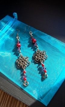 Japanese Chainmaille Style .  Make a pair of chainmaille earrings in under 40 minutes by beading, jewelrymaking, chainmailing, and wireworking with beads, jump rings, and jump rings. Inspired by crafts, flowers, and clothes & accessories. Creation posted by CazSteele. Difficulty: Simple. Cost: 3/5.