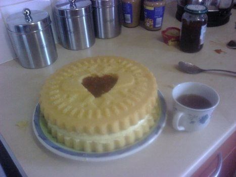 Very simple to do but very cool cake. .  Bake a cake in under 120 minutes by baking with buttercream icing, cookie cutter, and jam. Creation posted by kathleen.devlin. Difficulty: Easy. Cost: Cheap.