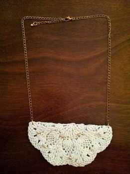 Easy and Beautiful .  Free tutorial with pictures on how to make a lace collar in under 20 minutes by jewelrymaking with thread, lobster clasp, and jewelry chain. Inspired by vintage & retro and clothes & accessories. How To posted by Pam. Difficulty: Easy. Cost: Absolutley free. Steps: 5