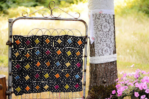 Yarn bomb a garden gate! .  Free tutorial with pictures on how to make a piece of textile art in under 30 minutes by yarncrafting with yarn, lace, and granny square. How To posted by maize hutton.  in the Yarncraft section Difficulty: Simple. Cost: No cost. Steps: 5