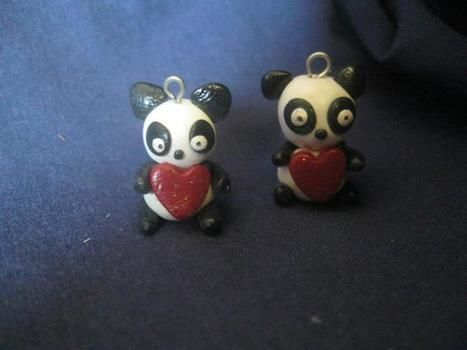 Panda charms ( great for BFF necklaces) .  Sculpt a clay panda in under 30 minutes by creating, applying makeup, jewelrymaking, potting, and resinworking with polymer clay. Inspired by creatures, costumes & cosplay, and pandas. Creation posted by . Difficulty: 4/5. Cost: 3/5.