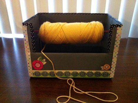 Keep your yarn rolling .  Free tutorial with pictures on how to make a dispenser box in under 120 minutes by decorating with scissors, paint, and hot glue gun. How To posted by Pam. Difficulty: Easy. Cost: Cheap. Steps: 9