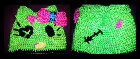 Get your zombie on! .  Free tutorial with pictures on how to make an animal hat in under 180 minutes by needleworking and crocheting with yarn and yarn needle. Inspired by halloween, hello kitty, and cats. How To posted by Ashinezz. Difficulty: Easy. Cost: Cheap. Steps: 1