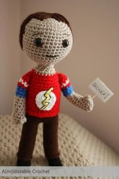 My own little Sheldon doll<3 .  Free tutorial with pictures on how to sew a TV show plushie in 1 step by crocheting with yarn. Inspired by kawaii, the big bang theory, and people. How To posted by amidorable . Difficulty: 3/5. Cost: No cost.