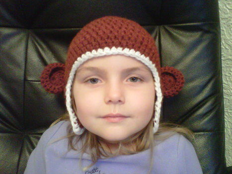 Modelled by my monkey .  Make an animal hat in under 120 minutes by crocheting with yarn and crochet hook. Inspired by creatures, monkeys, and monkeys. Creation posted by Claire J. Difficulty: Easy. Cost: Absolutley free.