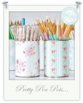 Up cycle your old food cans into the prettiest of pen pots .  Free tutorial with pictures on how to make a pot in under 10 minutes by decorating with card, double sided tape, and tin can. How To posted by Torie J. Difficulty: Simple. Cost: Cheap. Steps: 1