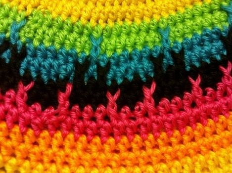 Bright colors for the gloomy winter .  Make a stripy beanie by crocheting with crochet hook and worsted weight yarn. Inspired by kawaii, clothes & accessories, and rainbow. Creation posted by Princess Pam-attitude . Difficulty: 3/5. Cost: Absolutley free.