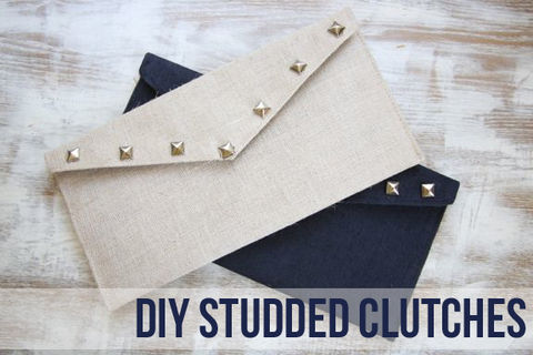 An easy way to make an old clutch edgy and chic.  .  Free tutorial with pictures on how to make a clutch in under 20 minutes by studding and studding with studs and clutch. Inspired by clothes & accessories. How To posted by Stephanie @ Henry Happened. Difficulty: Easy. Cost: Cheap. Steps: 3