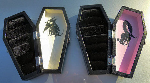 A wedding gift for a goth couple. .  Make a coffin shaped box by decorating, embellishing, and transfering with box. Inspired by halloween, weddings, and gothic. Creation posted by Vermin Jerky. Difficulty: 3/5. Cost: 3/5.