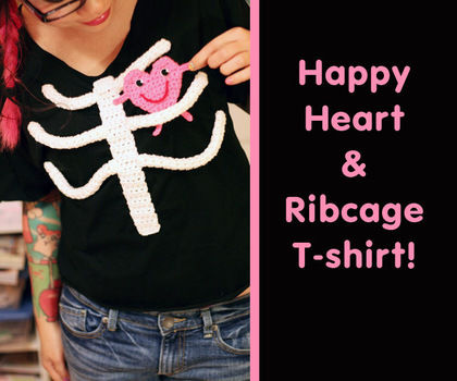 Use basic crochet and sewing to create an adorably spooky ribcage tshirt! .  Free tutorial with pictures on how to make an embellished top in 9 steps by embroidering, sewing, and crocheting with sewing needle, sewing thread, and wiggly eyes. Inspired by halloween, costumes & cosplay, and skulls & skeletons. How To posted by Twinkie Chan. Difficulty: 3/5. Cost: Cheap.