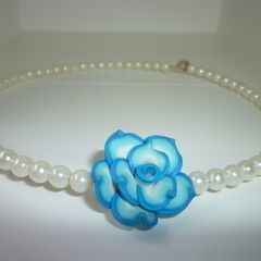 Polymer Rose Pearl Necklace