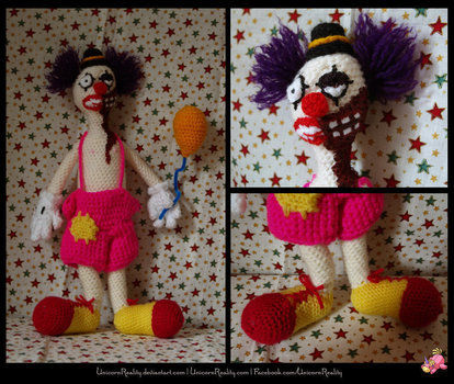 Never sleep again. .  Make a rag dolls / a person plushie in under 90 minutes by crocheting and amigurumi with wool and polyester stuffing. Inspired by clowns and clowns. Creation posted by Unicorn Reality. Difficulty: 3/5. Cost: No cost.