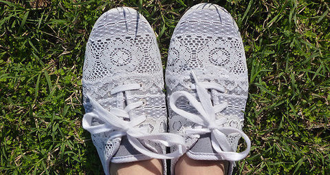 Take unused lace scraps to fancy up a pair of worn and unattractive kicks! .  Free tutorial with pictures on how to make a pair of lace shoes in under 60 minutes by decorating and embellishing with fabric glue, x acto knife, and shoes. How To posted by AllisonDreamALittleBigger. Difficulty: Simple. Cost: Cheap. Steps: 6