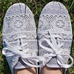 Repurposed Lace Scrap Tennies