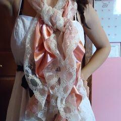 Pink Lace Ruffle Scarf