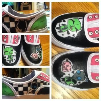 I love you piggeh! .  Paint a pair of character shoes by creating and drawing with paint and canvas shoes. Inspired by invader zim, costumes & cosplay, and kawaii. Creation posted by Redpandas Milkshake. Difficulty: 3/5. Cost: 3/5.