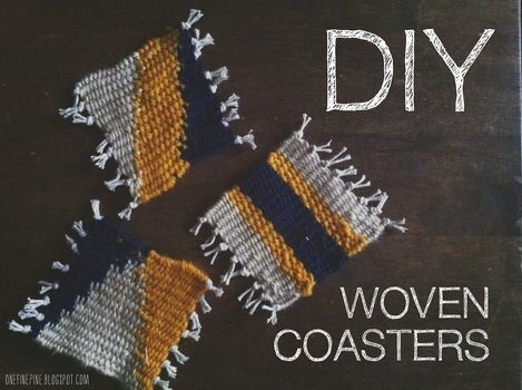 Simple woven coasters that add a little Aztec style to any room  .  Free tutorial with pictures on how to weave a woven coaster in under 60 minutes by weaving with yarn, cardboard, and ruler. Inspired by aztec. How To posted by Erin P. Difficulty: Simple. Cost: 3/5. Steps: 9