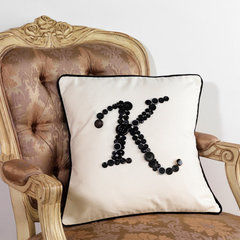 Monogram Letter K Pillow Cushion Cover In Black Metal Mix Buttons