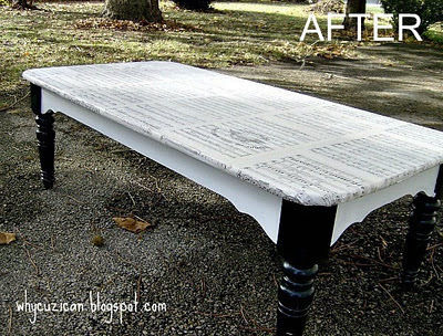 Trash To Treasure Coffee Table-  Using Mod Podge .  Make a table in under 120 minutes by decoupaging and decoupaging with paint, paint brush, and decoupage glue. Creation posted by Maytag Suzanne. Difficulty: Simple. Cost: Cheap.