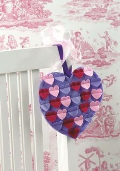 Hanging Hearts .  Free tutorial with pictures on how to make a shape plushie in under 40 minutes by sewing with felt, felt, and sewing machine. Inspired by valentine's day and hearts. How To posted by Search Press. Difficulty: 3/5. Cost: Cheap. Steps: 4
