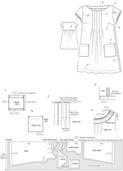 Dress with front pleats in Liberty print .  Free tutorial with pictures on how to sew a pleated dress in under 120 minutes by sewing and dressmaking with cotton and fusible interfacing. How To posted by Tuttle Publishing. Difficulty: 3/5. Cost: 3/5. Steps: 11