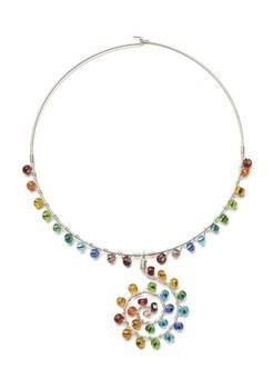 Glass beads come in such an array of beautiful colours that I decided to make a feature of them and create my own rainbow.  .  Free tutorial with pictures on how to make a wire necklace in under 50 minutes by beading and jewelrymaking with wire, wire, and glass beads. How To posted by GMC Group. Difficulty: Simple. Cost: Cheap. Steps: 9