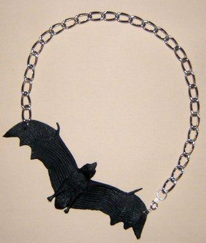 Perfect for Halloween.. or everyday Goth wear! .  Make a toy necklace in under 10 minutes by jewelrymaking with chain, jewelry findings, and rubber bat. Inspired by halloween, gothic, and clothes & accessories. Creation posted by Monika Gottindottir. Difficulty: Easy. Cost: Cheap.
