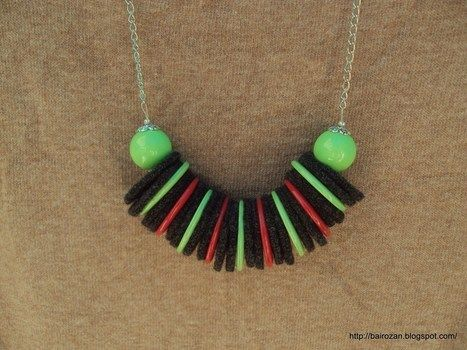 Felt necklaces from recycled woolen sweaters .  Make a fabric necklace in under 180 minutes by jewelrymaking with scissors, felt, and beads. Creation posted by Rozantia P. Difficulty: Easy. Cost: 3/5.
