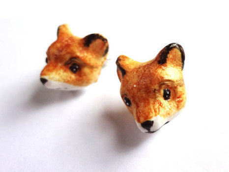 Foxes .  Sculpt a set of clay animal earrings in under 30 minutes by molding with acrylic paint, polymer clay, and polymer clay glaze. Inspired by animals and foxes. Creation posted by EVEnl. Difficulty: Simple. Cost: 3/5.
