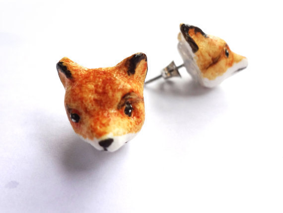 Polymer Clay Fox Earrings 183 A Set Of Clay Animal Earrings