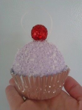 Snowball-like Cupcake Ornament .  Free tutorial with pictures on how to create art / a model in under 150 minutes using acrylic paint, paintbrush, and skewer. Inspired by christmas and kawaii. How To posted by Caitlin . Difficulty: Simple. Cost: Cheap. Steps: 8