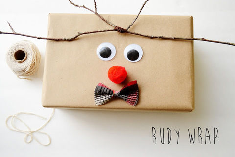 Wrap your gifts Rudy Style! .  Free tutorial with pictures on how to make gift wrap in under 10 minutes by papercrafting with paper, glue, and wiggly eyes. How To posted by maize hutton. Difficulty: Easy. Cost: No cost. Steps: 2