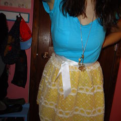 Yellow Skirt With Lace Skirt