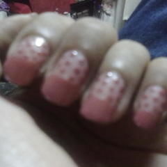 Cute N Easy Colored French Manicure With Polka Dots :)