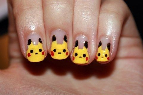 Pikachu .  Paint a character nail in under 20 minutes by nail painting and nail painting with nail art pen. Inspired by pokemon. Creation posted by CookieBird Lover. Difficulty: Simple. Cost: No cost.