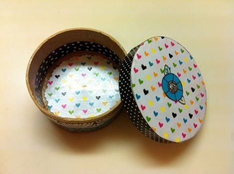 Scrap Paper Embellishments  .  Make a round box in under 60 minutes by decorating and embellishing with decoupage glue, box, and scrapbook paper. Inspired by kawaii. Creation posted by Princess Pam-attitude . Difficulty: Easy. Cost: No cost.