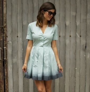 DIY Fashionista .  Free tutorial with pictures on how to dye a dyed dress in under 60 minutes by dyeing with salt, dress, and dye. Inspired by ombre. How To posted by Carlton Books. Difficulty: 3/5. Cost: Cheap. Steps: 3