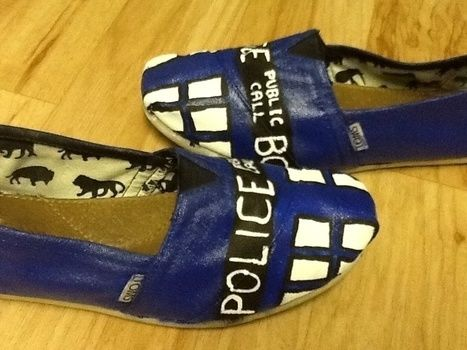 Comfy Themed Shoes for Cons .  Paint a pair of character shoes in under 180 minutes by decorating and embellishing with acrylic paint, acrylic paint, and acrylic paint. Inspired by dr who, costumes & cosplay, and clothes & accessories. Creation posted by Jenna W. Difficulty: Easy. Cost: 3/5.