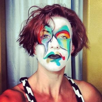 Pretty clown .  Create a face painting in under 30 minutes by creating, applying makeup, and applying makeup with make up. Inspired by halloween, costumes & cosplay, and clowns. Creation posted by Tish R. Difficulty: 4/5. Cost: No cost.