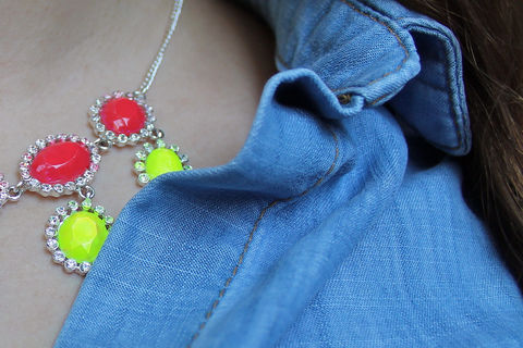 Turn a cheap and tacky piece off jewelry into a trendy neon statement piece! .  Free tutorial with pictures on how to recycle a necklace with nail polish in under 20 minutes by decorating and jewelrymaking with necklace, nail polish remover, and q tip. How To posted by Célèste B. Difficulty: Simple. Cost: Cheap. Steps: 3
