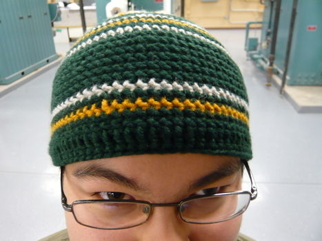 May the Triforce be with you.. Wait. What? .  Make a stripy beanie in under 150 minutes by crocheting with yarn and crochet hook. Inspired by legend of zelda and clothes & accessories. Creation posted by Risa.Hanae (JapZilla). Difficulty: Easy. Cost: Cheap.