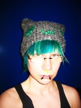 Cute and simple cat beanie :3 .  Make an animal hat in under 180 minutes by crocheting with felt, yarn, and yarn. Inspired by cats, cats, and kawaii. Creation posted by SieniPieni. Difficulty: Easy. Cost: Cheap.