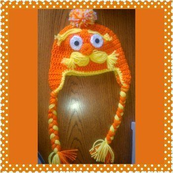 Lorax beanie hat  .  Make a character hat in under 120 minutes by crocheting with yarn and crochet hook. Inspired by clothes & accessories. Creation posted by wendy t. Difficulty: Simple. Cost: Cheap.