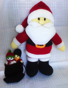 Hand knitted Santa Claus .  Make a rag dolls / a person plushie by yarncrafting and knitting with yarn, knitting needles, and tapestry needle. Inspired by crafts, christmas, and santa claus. Creation posted by Tales of Twisted Fibers. Difficulty: Easy. Cost: Cheap.