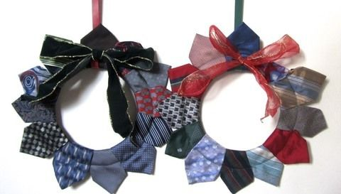 Decorate your door with a vintage neck-tie wreath! .  Free tutorial with pictures on how to make a fabric wreath in under 30 minutes by sewing with sewing machine, ribbon, and neck tie. Inspired by christmas. How To posted by Cat Morley. Difficulty: Simple. Cost: Cheap. Steps: 8